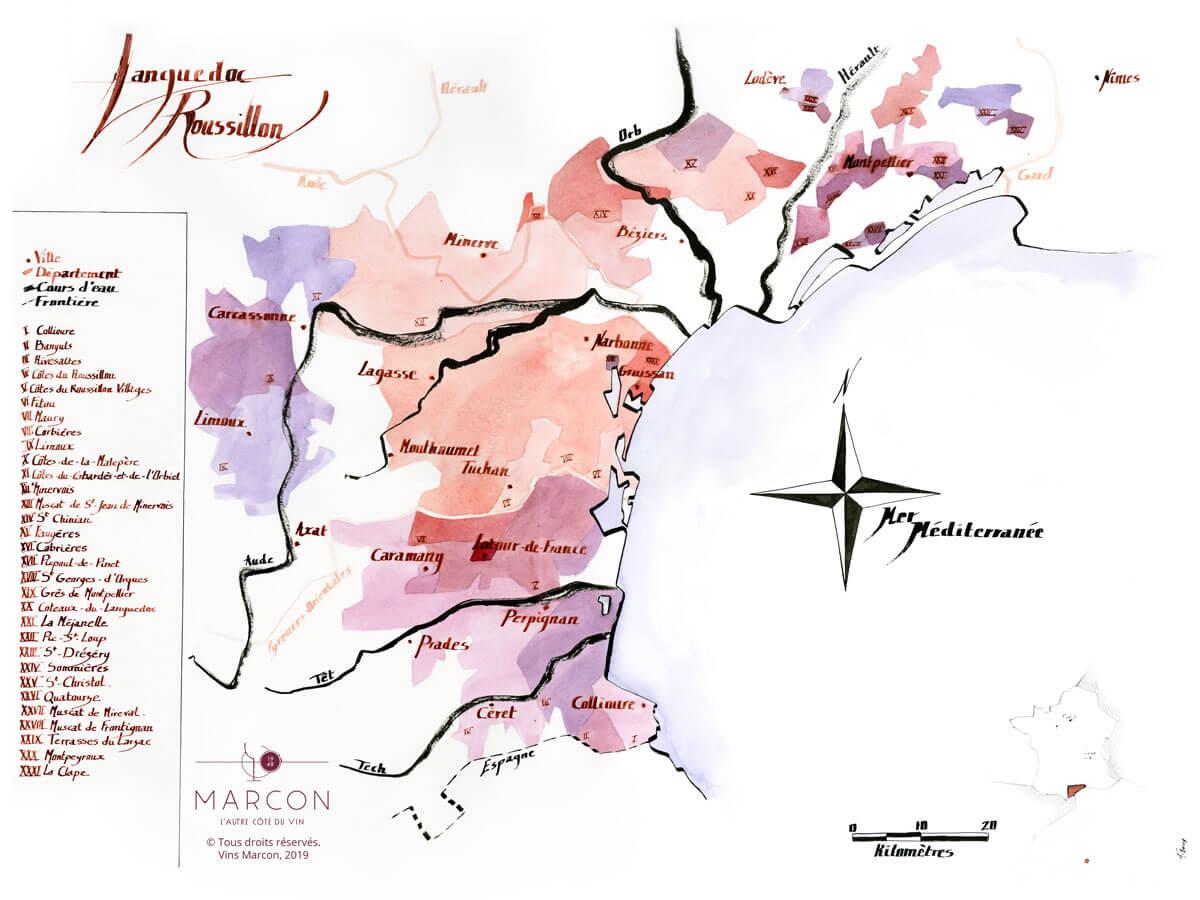Vignoble du Roussillon réalisé par les Vins Marcon