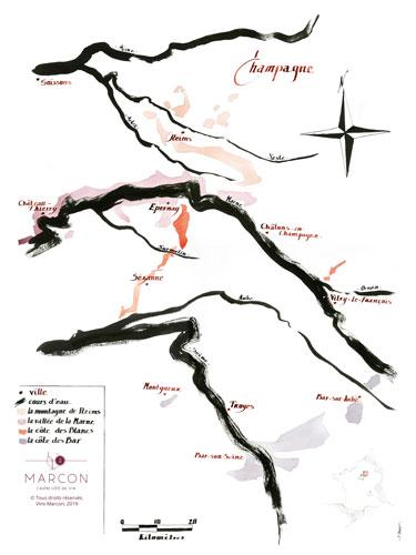 © Vins Marcon - Carte viticole de la Champagne
